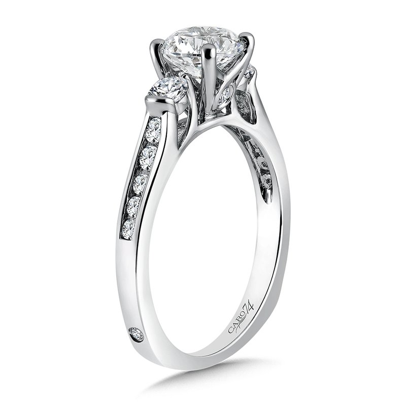 3 Stone Engagement Ring in 14K White Gold with Platinum Head (1ct. tw.)