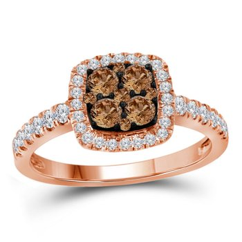 14kt Rose Gold Womens Round Brown Diamond Square Cluster Ring 3/4 Cttw