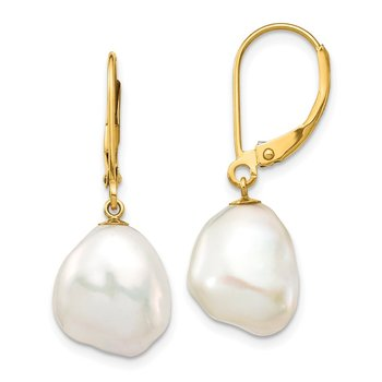 14K 10x12mm White Keshi Freshwater Cultured Pearl Leverback Earrings