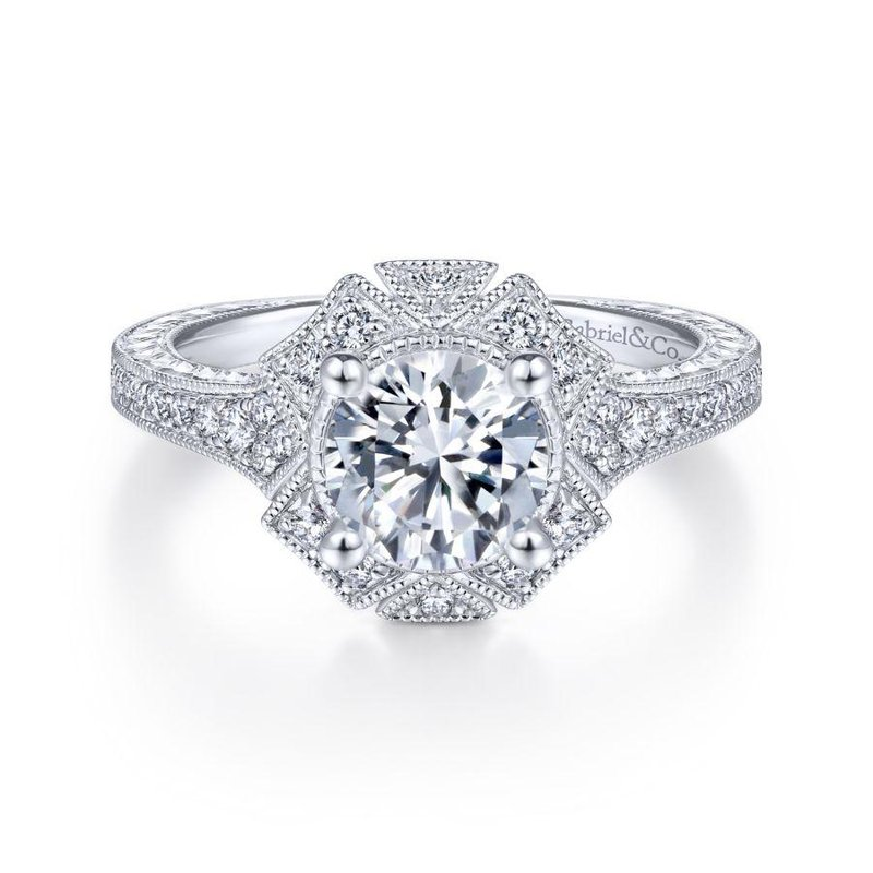 Gabriel Bridal Unique 14K White Gold Art Deco Halo Engagement Ring