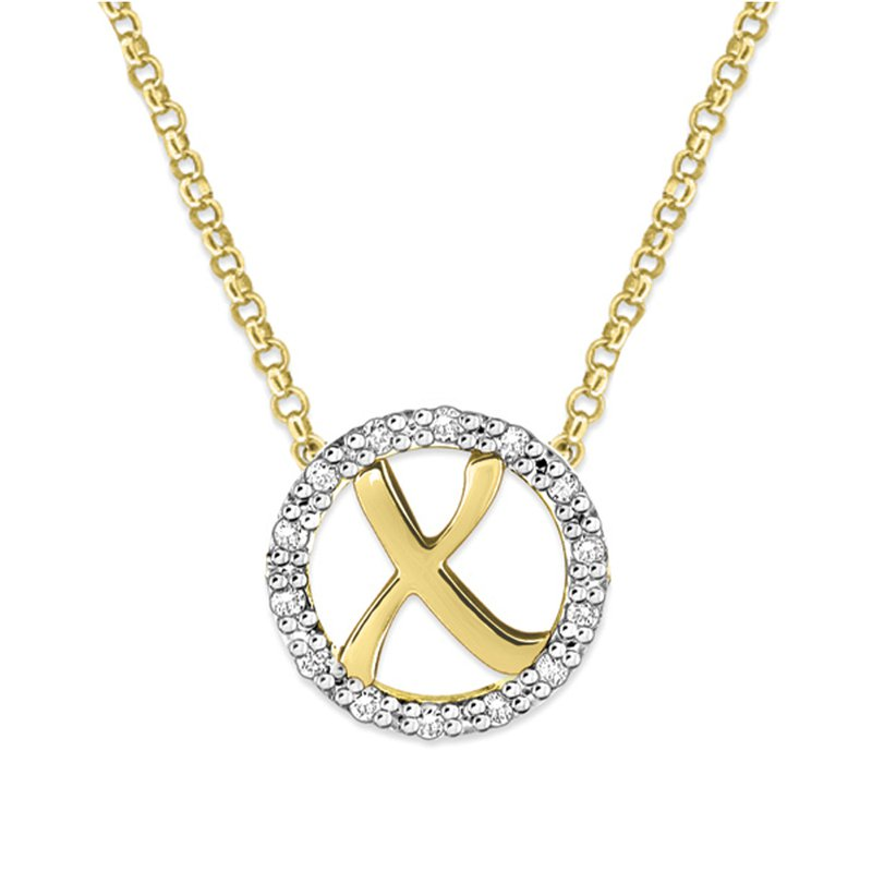 "KC Designs Gold and Diamond Mini Halo ""X"" Initial Necklace"