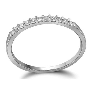 14kt White Gold Womens Round Diamond Wedding Anniversary Band Ring 1/6 Cttw