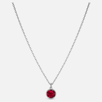 Birthstone Pendant, July, Red, Rhodium plated
