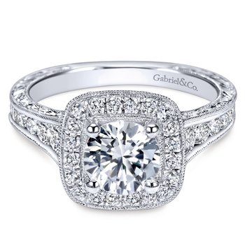 14k White Gold Diamond Halo Channel and Milgrain Engagement Ring