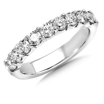 Prong set Round Diamond Wedding Band 14k White Gold (1/4ct. tw.)