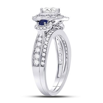 14kt White Gold Womens Pear Diamond Royal Sparkle Bridal Wedding Engagement Ring Band Set 1.00 Cttw