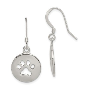 Sterling Silver Polished Paw Print Shepherd Hook Earrings