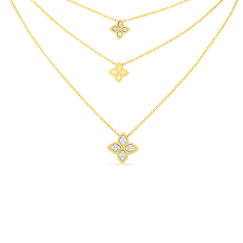 18K GOLD & DIAMOND 3 DROP FLOWER NECKLACE