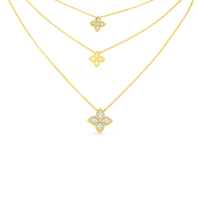 Roberto Coin 18K Gold & Diamond 3 Drop Flower Necklace