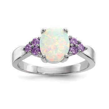 Sterling Silver Rhodium-plated Oval Created Opal w/Purple CZ Ring