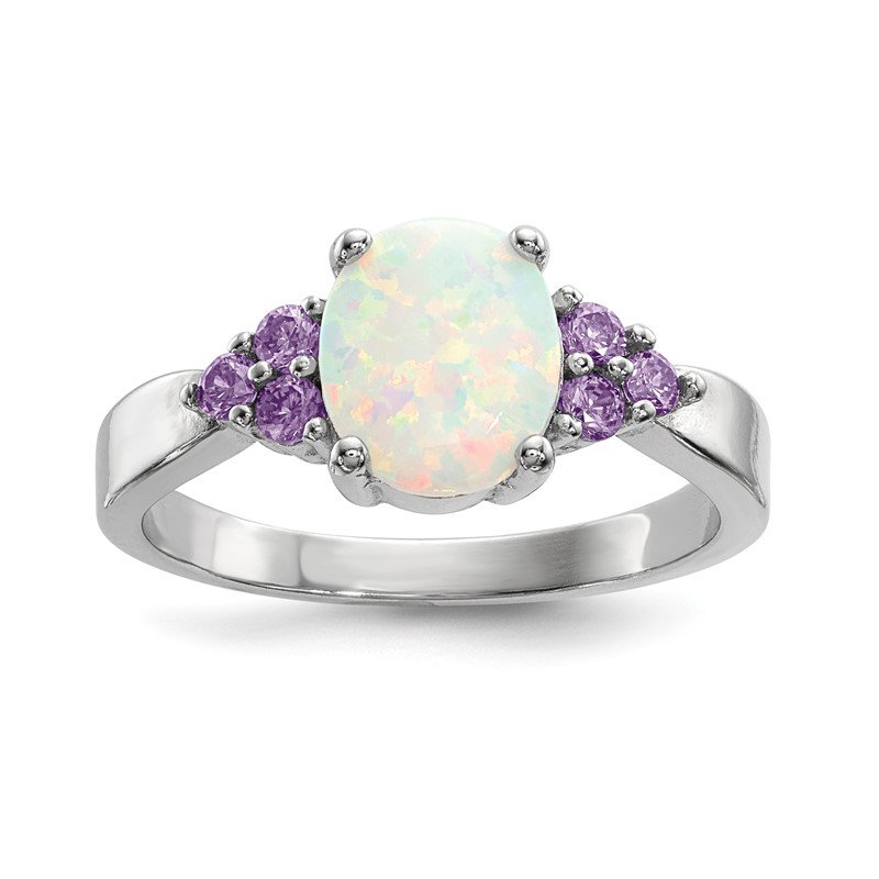Quality Gold Sterling Silver Rhodium-plated Oval Created Opal w/Purple CZ Ring
