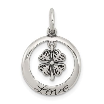 Sterling Silver Antiqued Shamrock Love Charm