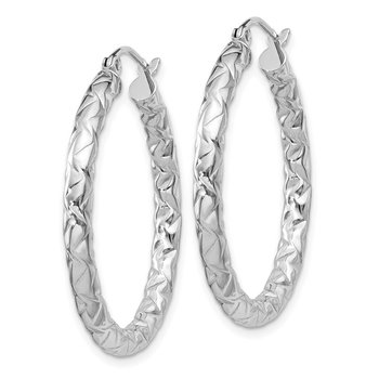 Sterling Silver Rhodium-plated Textured 3x30mm Hoop Earrings