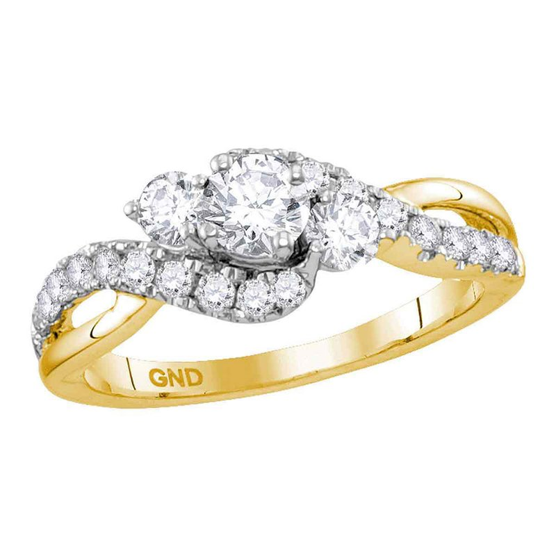 Gold-N-Diamonds 14kt Yellow Gold Womens Round Diamond 3-stone Bridal Wedding Engagement Ring 7/8 Cttw (Certified)