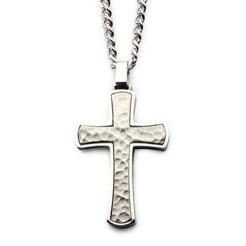 Stainless Steel Hammered Cross Pendant