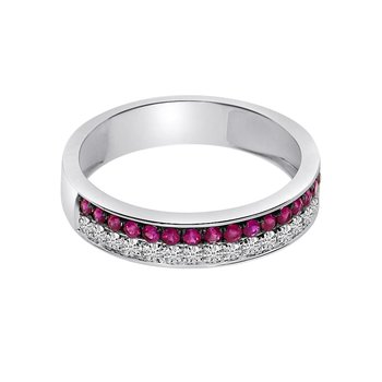 14k White Gold Double Ruby Channel Band