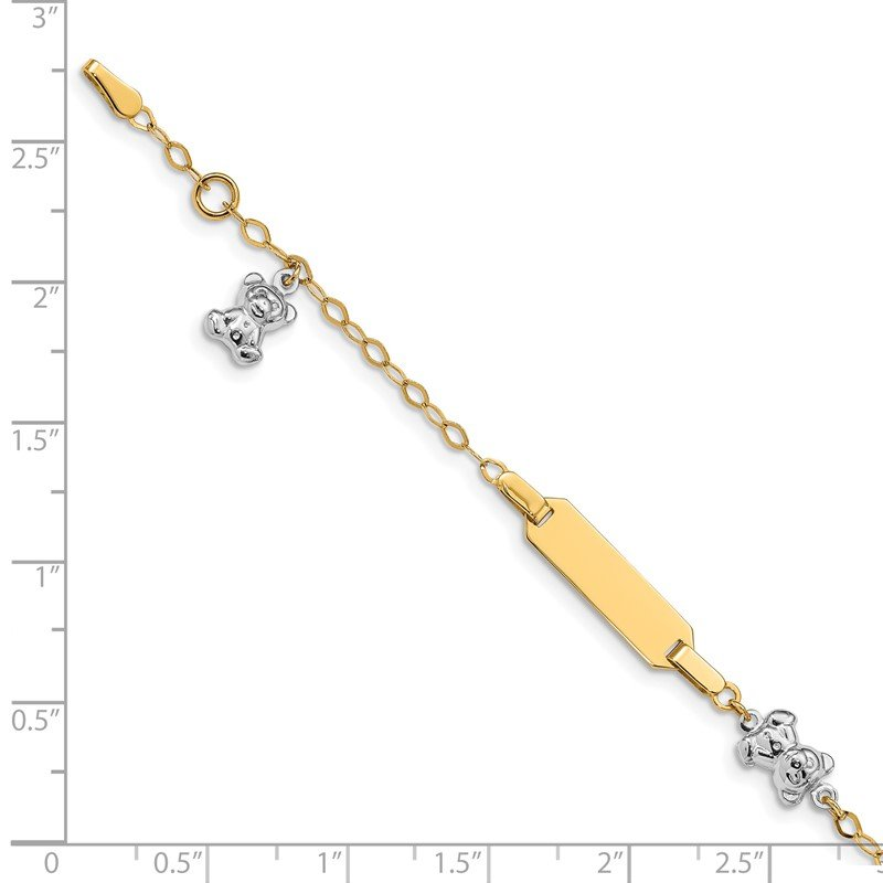 Quality Gold 14k Two-tone Children's Polished Teddy Bearw/.5in ext. ID Bracelet