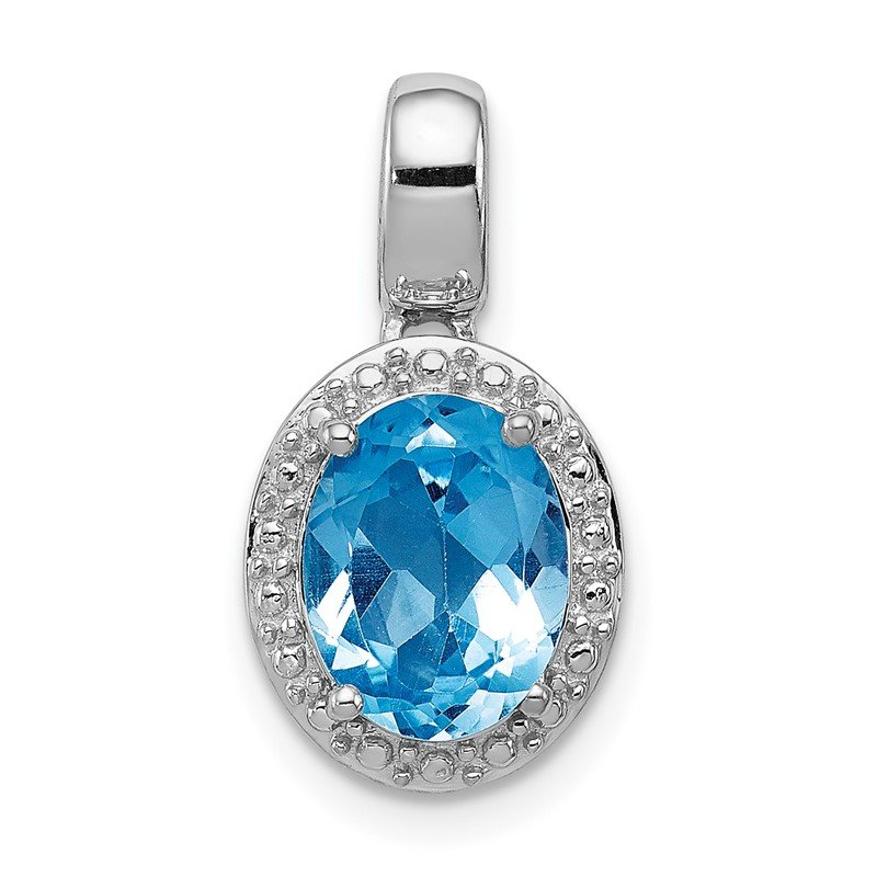 Quality Gold Sterling Silver Rhodium-plated with Light Swiss Blue Topaz Oval Pendant