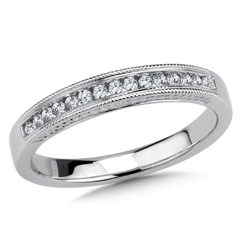 SDC Creations Diamond Wedding Band with side engraving in 14k White Gold (1/7ct. tw.) JK/I1
