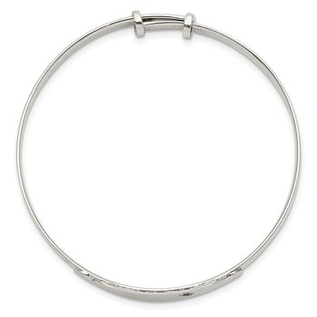 Sterling Silver CZ ID Adjustable Baby Bangle Bracelet
