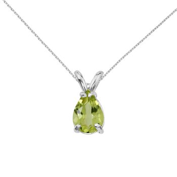 14k White Gold Pear Shaped Peridot  Pendant