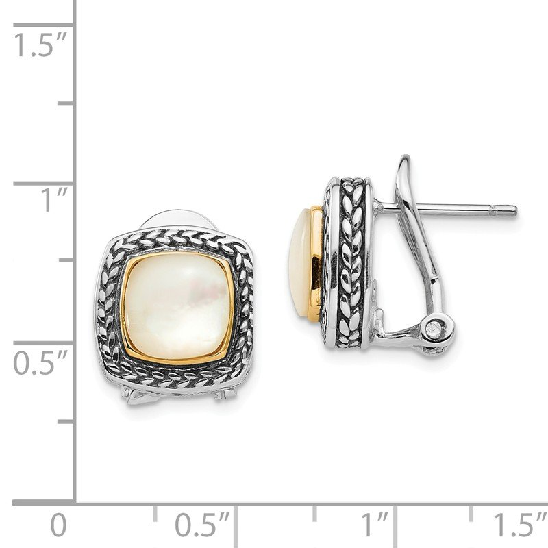 Shey Couture Sterling Silver w/14k Mother of Pearl Earrings