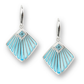 Sterling Silver Fan Wire Earrings-Blue. Blue Topaz