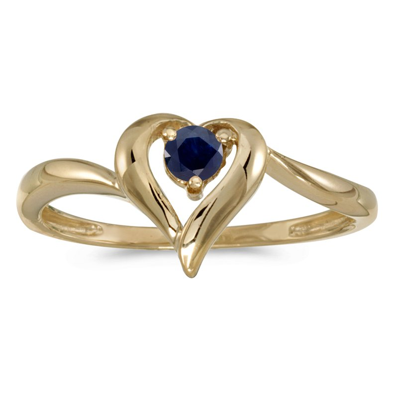 Color Merchants 10k Yellow Gold Round Sapphire Heart Ring