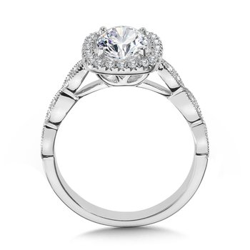 Scalloped & Milgrain-Beaded Cushion-Shaped Halo Engagement Ring