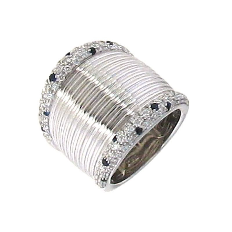 Roberto Coin 18Kt White Gold Diamond And Black Sapphire Ring