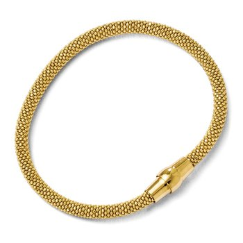 Leslie's Sterling Silver Gold-tone 18k Flash Plated Magnetic Bracelet