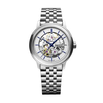 Automatic Skeleton, 39mm polished stainless steel, silver galvanic dial