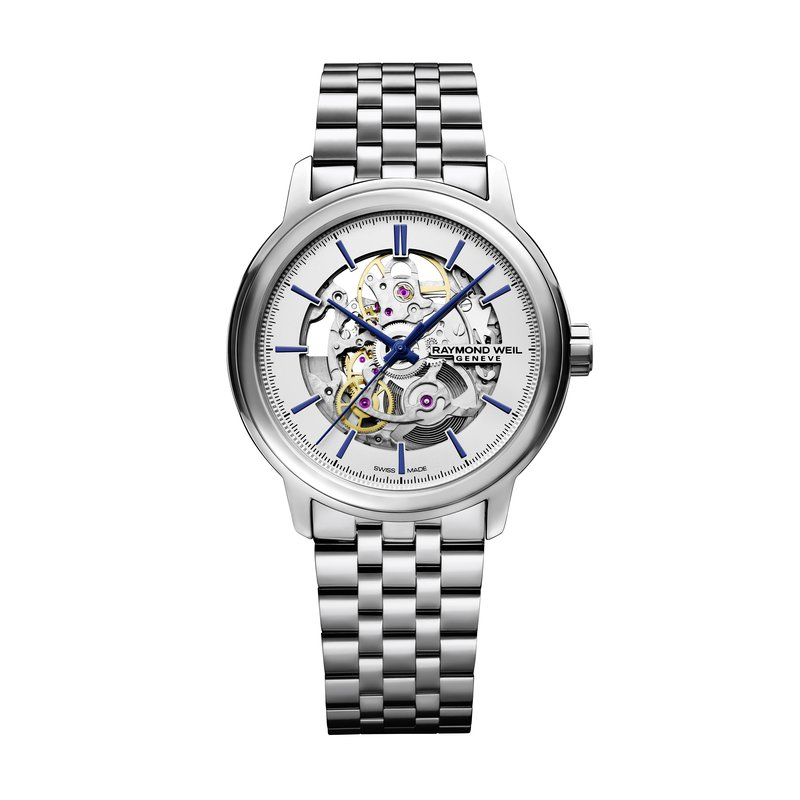 Raymond Weil Automatic Skeleton, 39mm polished stainless steel, silver galvanic dial