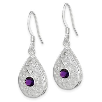 Sterling Silver Amethyst Polished Fancy Filigree Dangle Earrings