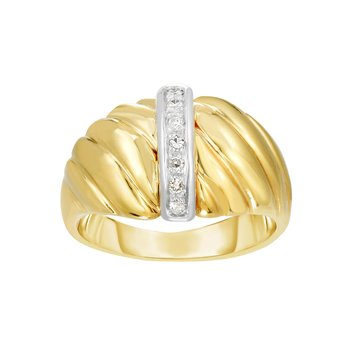 14K Gold Diamond Bar Sculpted Ring