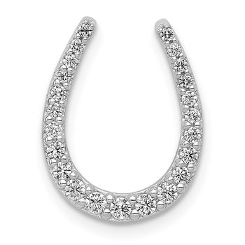 14k White Gold 1/4ct. Diamond Horseshoe Chain Slide