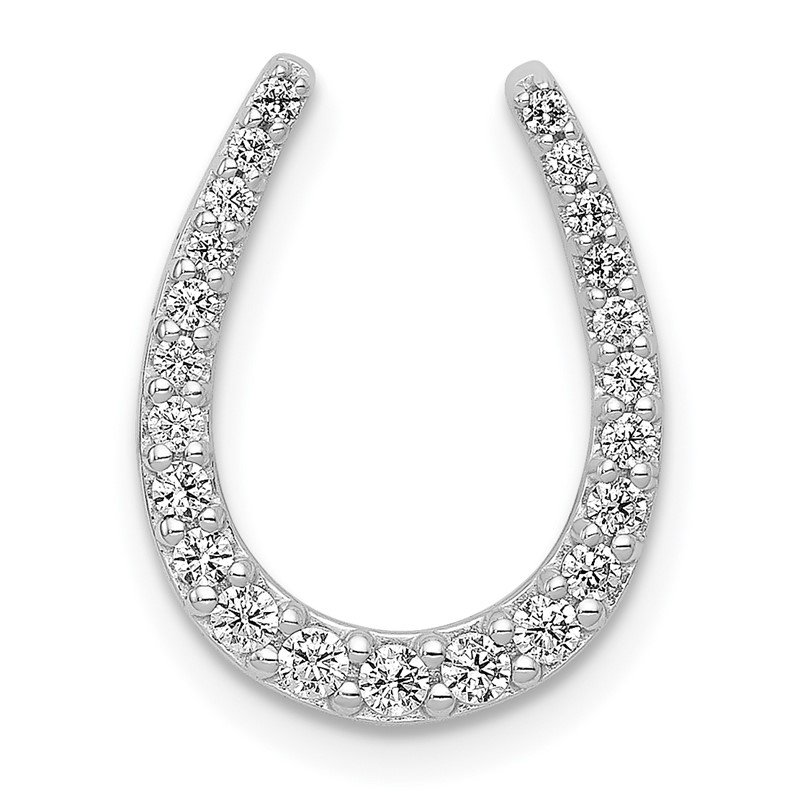 Quality Gold 14k White Gold 1/4ct. Diamond Horseshoe Chain Slide