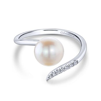 14K White Gold Open Cultured Pearl Diamond Ladies Wrap Ring