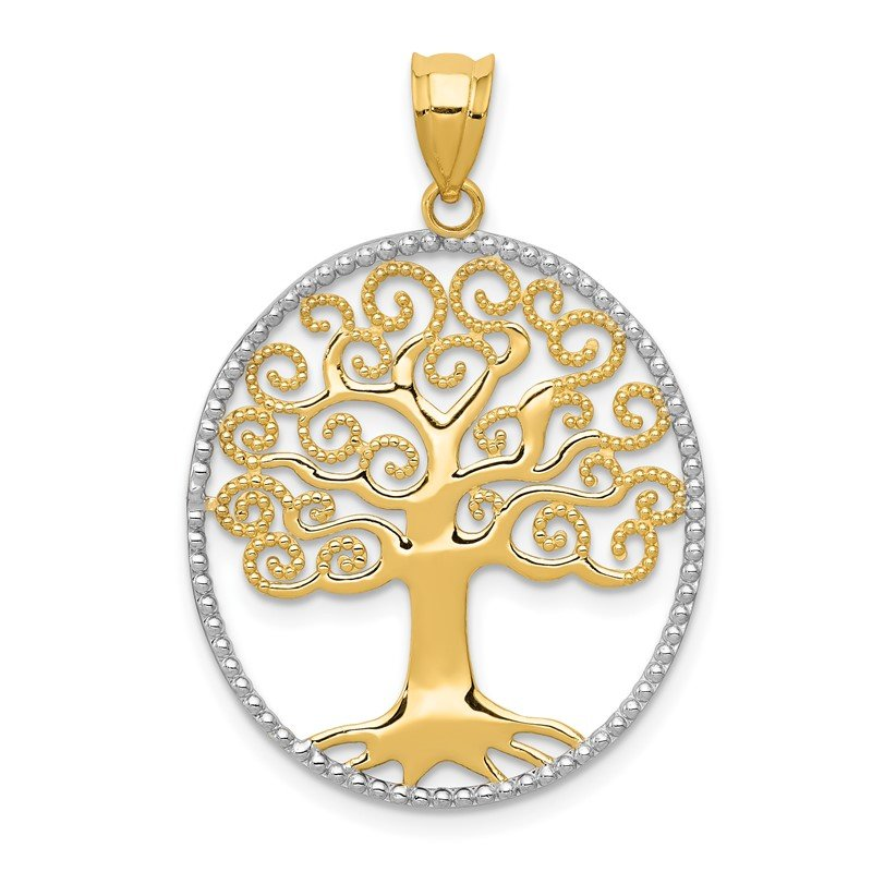 Quality Gold 14k w/Rhodium Filigree Tree of Life Pendant