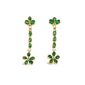 Yellow Gold Natural Emerald Diamond Floral Drop Earrings