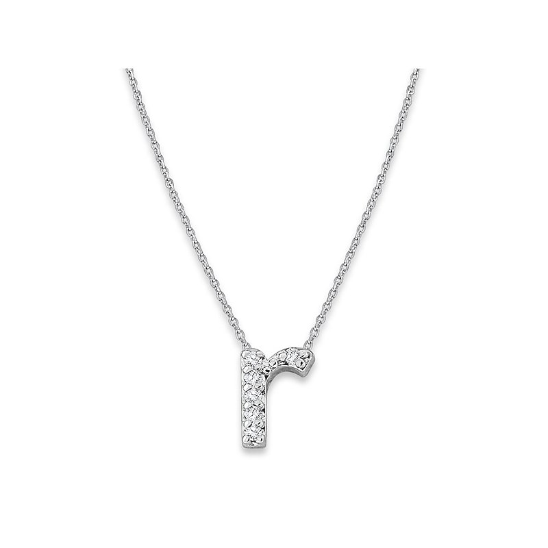 "KC Designs Diamond Baby Typewriter Initial ""R"" Necklace in 14k White Gold with 6 Diamonds weighing .04ct tw."