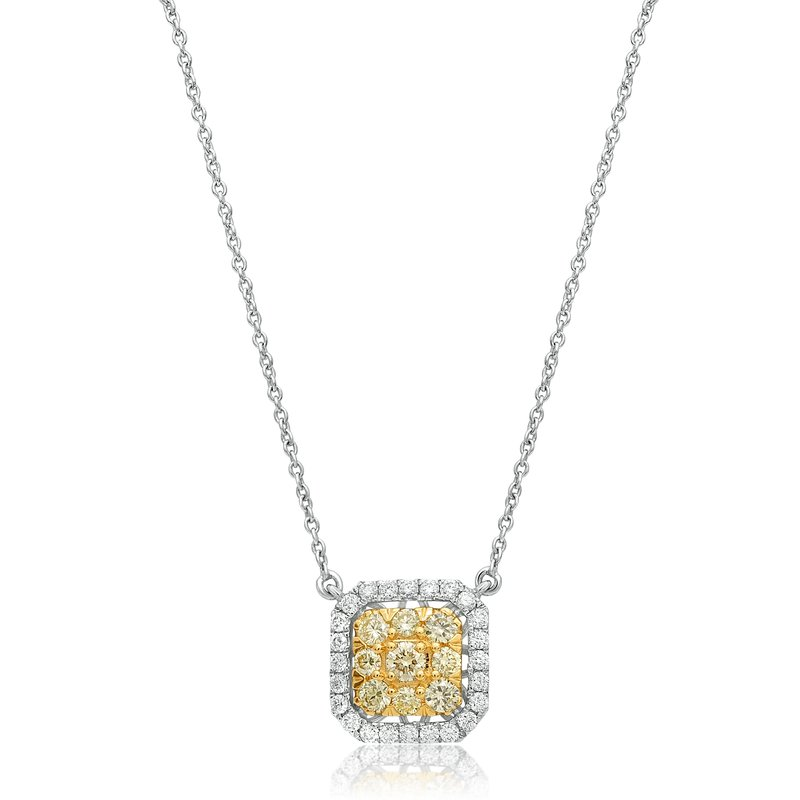 Roman & Jules Two Tone Diamond Cluster Necklace