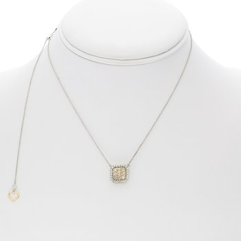 Two Tone Diamond Cluster Necklace