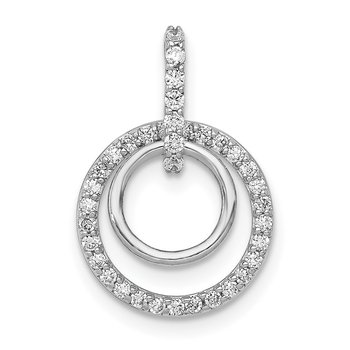 14k White Gold 1/4ct. Diamond Double Circle Dangle Pendant