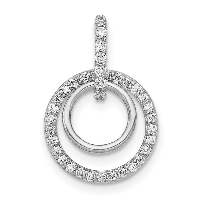 Quality Gold 14k White Gold 1/4ct. Diamond Double Circle Dangle Pendant