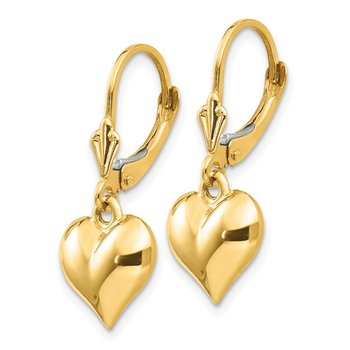 14k Puff Heart Leverback Earrings