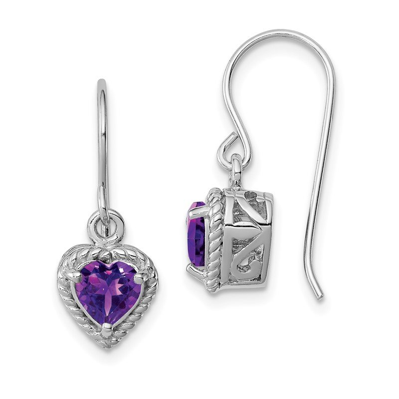 Quality Gold Sterling Silver Rhodium Amethyst Small Heart Earrings