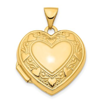 14K 19mm Heart Locket Pendant