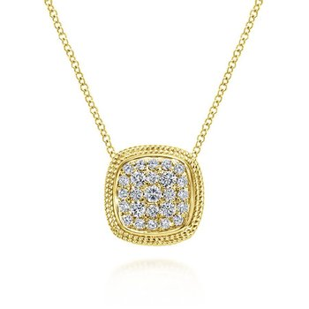 14K Yellow Gold Cushion Shape Diamond Pavé Pendant Necklace