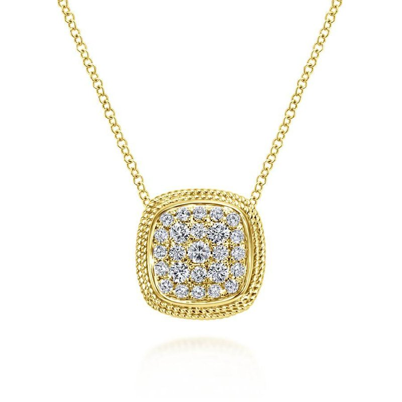 Gabriel Fashion 14K Yellow Gold Cushion Shape Diamond Pavé Pendant Necklace
